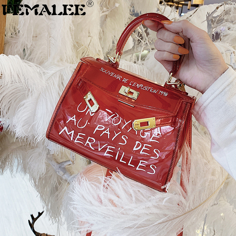 FEMALEE Clear Shoulder Bags Transparent PVC Crossbody Bags Candy Color Women Jelly Tote Purse Letter Handbags sac a main femmeFEMALEE Clear Shoulder Bags Transparent PVC Crossbody Bags Candy Color Women Jelly Tote Purse Letter Handbags sac a main femme