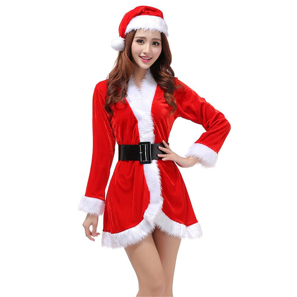 2018 Brand New Women Christmas Costumes Set Female Santa Claus Stage Performance Christmas Uniforms Holiday Party Role Play Suit