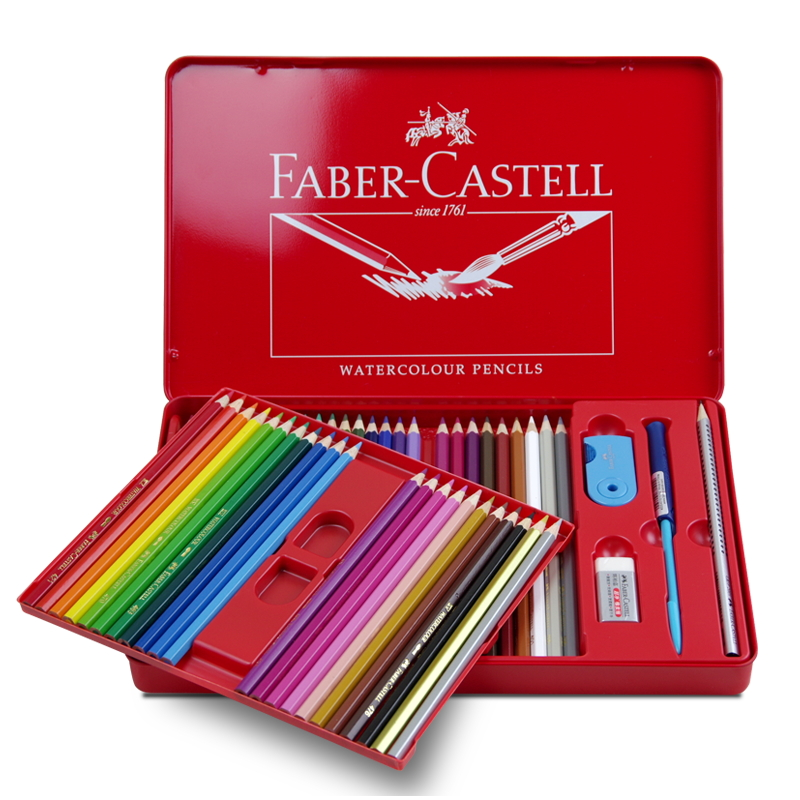 Faber Castell Water Colored Pencil 24/36/48 Colors Tin Box 114468 Drawing Non-toxic Pencils set for Artist Sketch Germany faber castell fashion colored pencils artist painting oily color pencil set for student drawing 36 48 72 colors free shipping