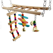 1Pcs Bird Toy Wooden Ladders Rocking Climbing Stairs Hamsters Bird Cage Parrot Toys Supplies Equipped with Bird cage accessories climbing the stairs