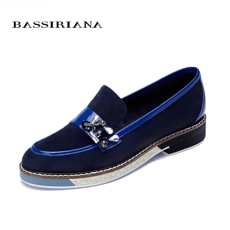 En cuir chaussures femme 2017 Printemps Automne Bleu Noir Brun Bout Rond Casual chaussures pour femmes De Base modèle Livraison gratuite BASSIRIANA