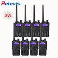 8 pcs 8 w 128ch walkie talkie retevis rt5 preto 2500 mah da bateria VHF UHF Dual Band FM Portátil 2 Maneira de Rádio Comunicador Em moscou