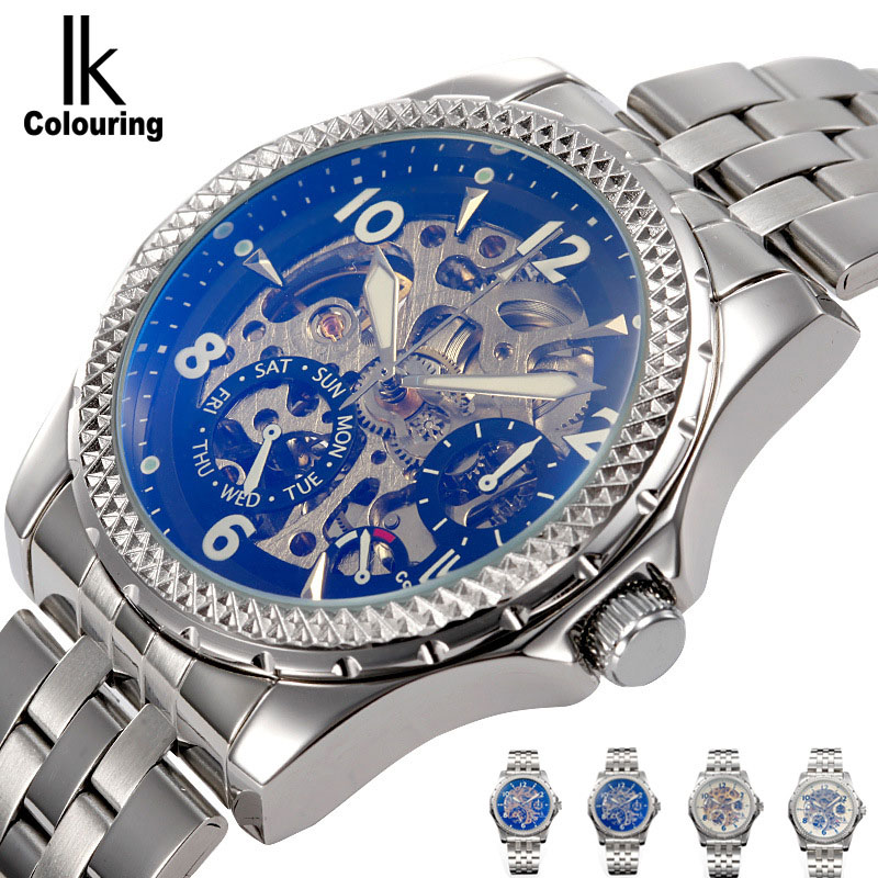 IK Colouring Automatic Double-sided hollow Casual Men's Skeleton Dial Horloge Auto Mechanical Wristwatch Original Box Watch ik colouring automatic double sided hollow casual men s skeleton dial horloge auto mechanical wristwatch original box watch