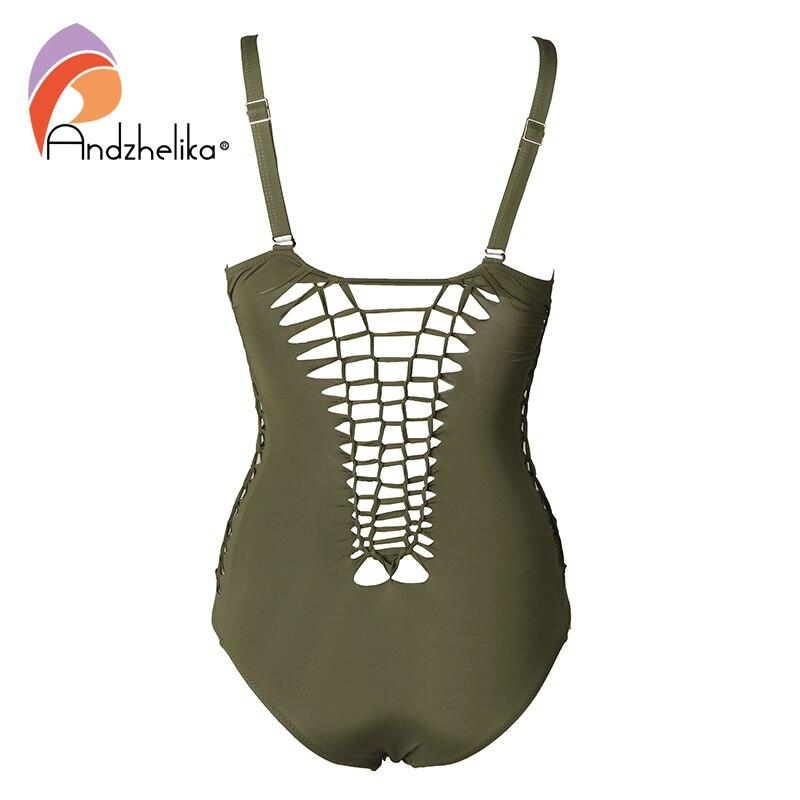 Image 5 - Andzhelika Bandeau Swimear 2018 One Piece Suits Sexy Bodysuit Swimsuit Bandage Halter Bathing Suit Solid Crochet Bathing Suitssuit sexysuit suitsuit one piece -
