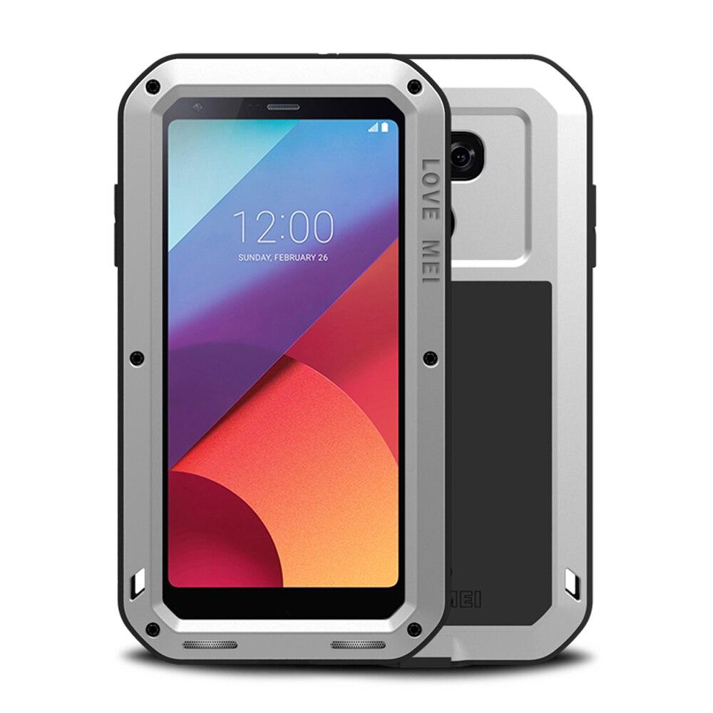 imágenes para Metal de aluminio Robusta Armadura Para LG G6 Caso A Prueba de Golpes de Silicona cubierta Del Cuerpo Completo Protector Gorilla Glass Para LG Teléfono G6 caso