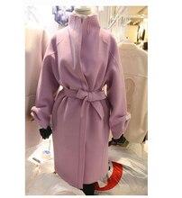 Women Fashion Belt Long Coat Korean Style High Neck Wool Winter Outwear H Straight Slim Warm Overcoat Female