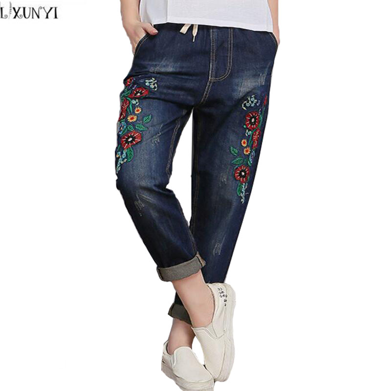 Ladies Embroidered jeans Denim Pants 2017 Vintage Loose Cuffs Flower jeans Women Large Size Elastic Waist Thin Casual Trousers 2017 new jeans women spring pants high waist thin slim elastic waist pencil pants fashion denim trousers 3 color plus size