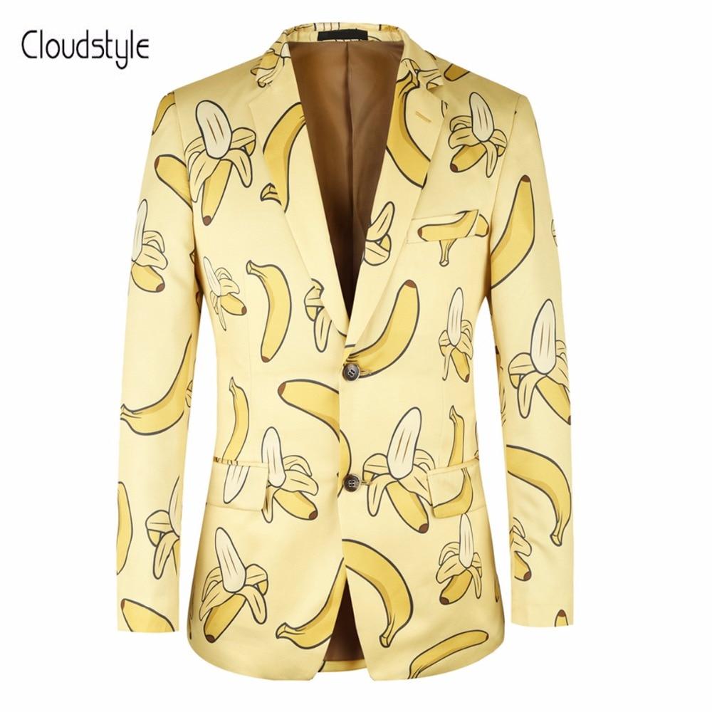 Cloudstye 2018 мужской две кнопки Пиджаки собственный Дизайн нам Размеры 4xl Мода банан 3D Принт блейзер Для мужчин Повседневное Slim Fit блейзер