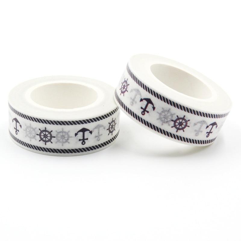 1 PCS Rudder & Anchor Sailor Decor Patterned Diy Japanese Washi Tape Scrapbooking Decorative Masking Tape