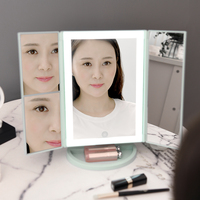 Square folding Home LED makeup mirror desktop with lamp storage tray dressing table charging makeup mirror mx12281450