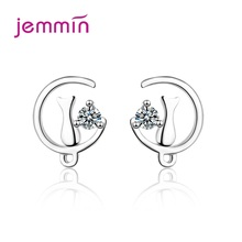 New Korean Fashion 925 Sterling Silver Jewelry Personality Moon Cat Design Stud Earrings CZ Cubic Zircon Earrings For Women cat design stud earrings