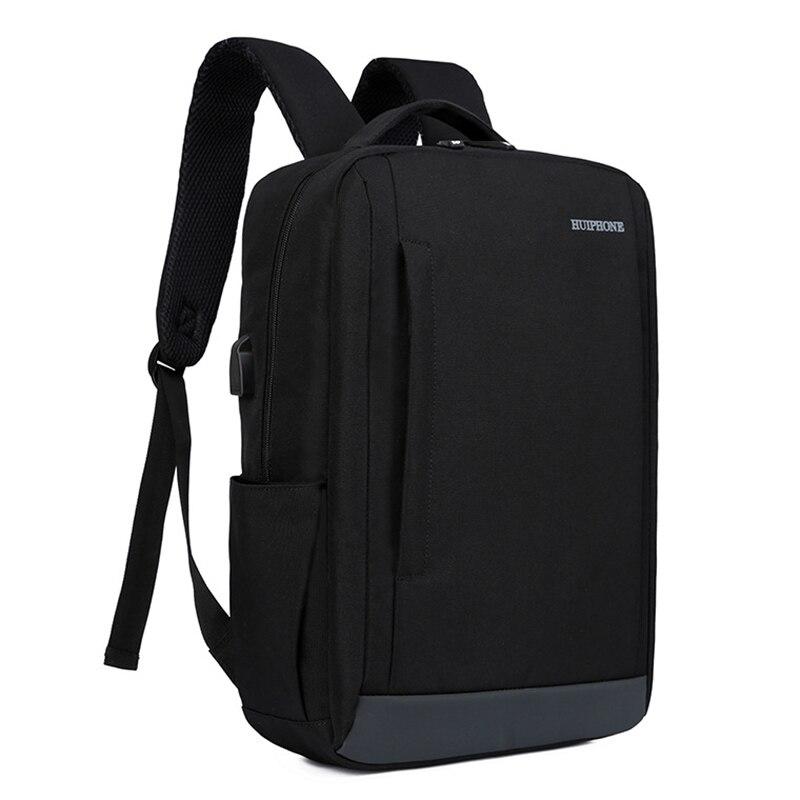 Los hombres de mochila para portátil mochila 15,6 bolsa de la escuela para adolescentes con Usb resistente al agua negro Unisex de la Universidad mochila de viaje mochila