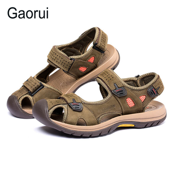 GAORUI 2017 New Men Sandals Slippers Genuine Leather Cowhide Male Summer Shoes Buckle Outdoor Suede  Beach Walking Casual Shoes