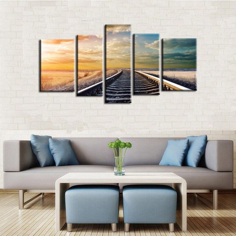 HAOCHU 5Pcs Group Canvas Painting Landscape Railway Digital Print Home Decor Wall Art Backdrop Prop Picture Living Room Supplies
