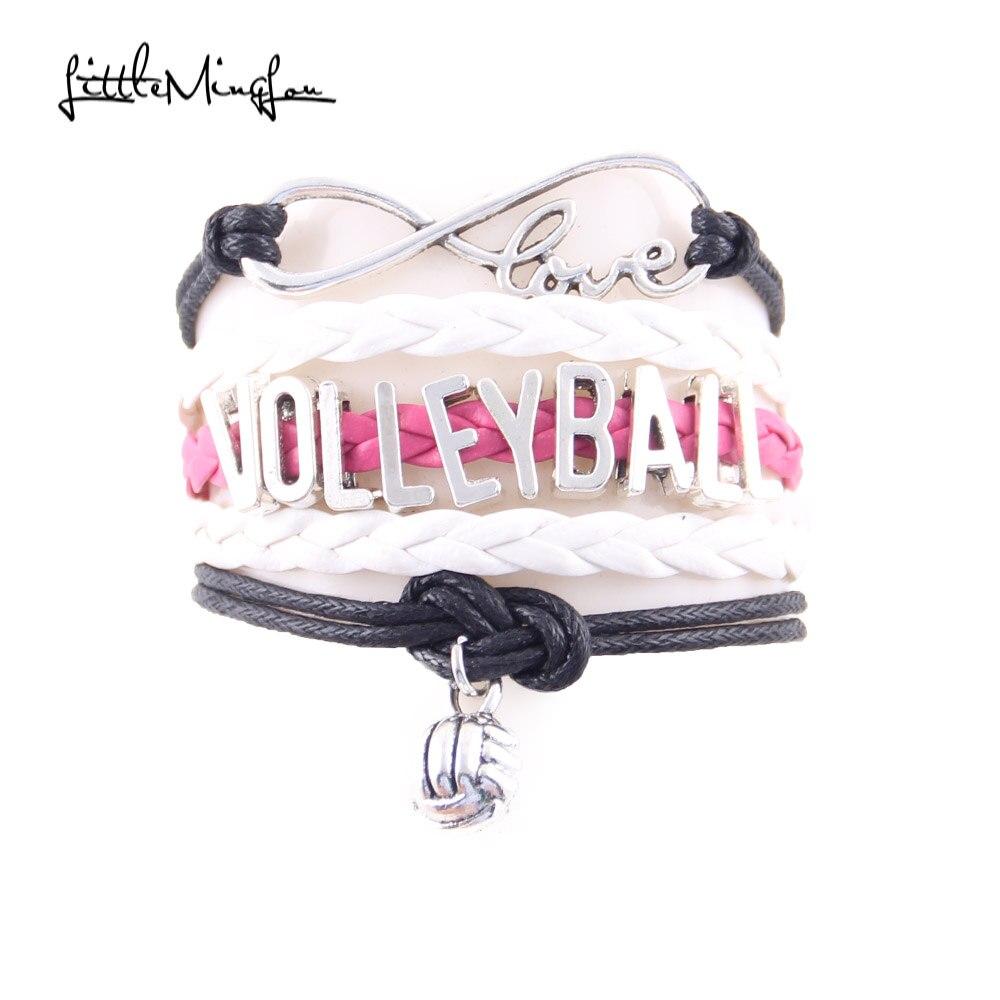 Little Minglou Infinity Love volleyball mom bracelet volleyball charm leather wrap men bracelets & bangles for women jewlery