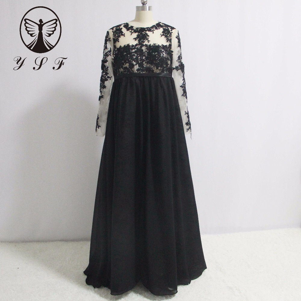 Simple Design Black O Neck Appliqued Lace Long Sleeve
