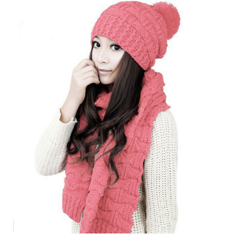 Knitting Women's Winter Scarf And Hat Sets Girls Lady Warm Beanie Bonnet Hats Gorros Mujer Invierno Females Winter Accessories