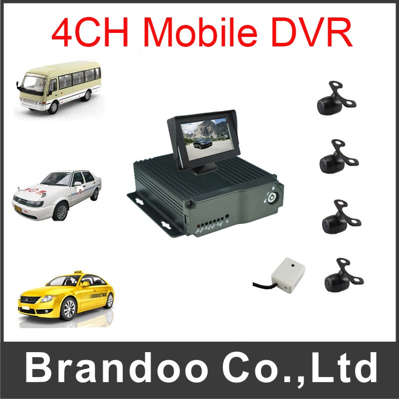 Security MDVR Mobile DVR 4ch Record Car DVR Kit for Bus Taxi Truck With 4pcs Car Camera and 1pcs Monitor