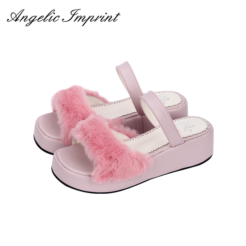 Wedge Sandals High-Heel Slip-On Lolita Princess Women Sweet Faux-Rabbit-Fur WHITE/BLACK