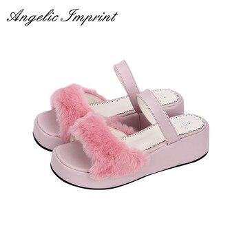 Women Faux Rabbit Fur High Heel Slip-On Sandals Sweet Lolita Princess Wedge Sandals PINK/WHITE/BLACK