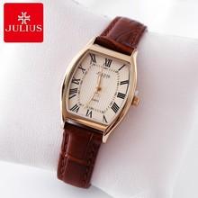 Beste Geschenkfrauen kleiden Art und Weise beiläufige Retro- Uhren der echten ledernen Bügeluhr Frauen Weinlese Qualität Julius 703 Stunde Zeit