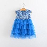 2018 Letnie Ubrania Dla Dzieci Kwiat Sukienka Dziewczyny Cekinami Niebieski Sukienka do Tańca Pincess dzieci Hurtownia Odzieży