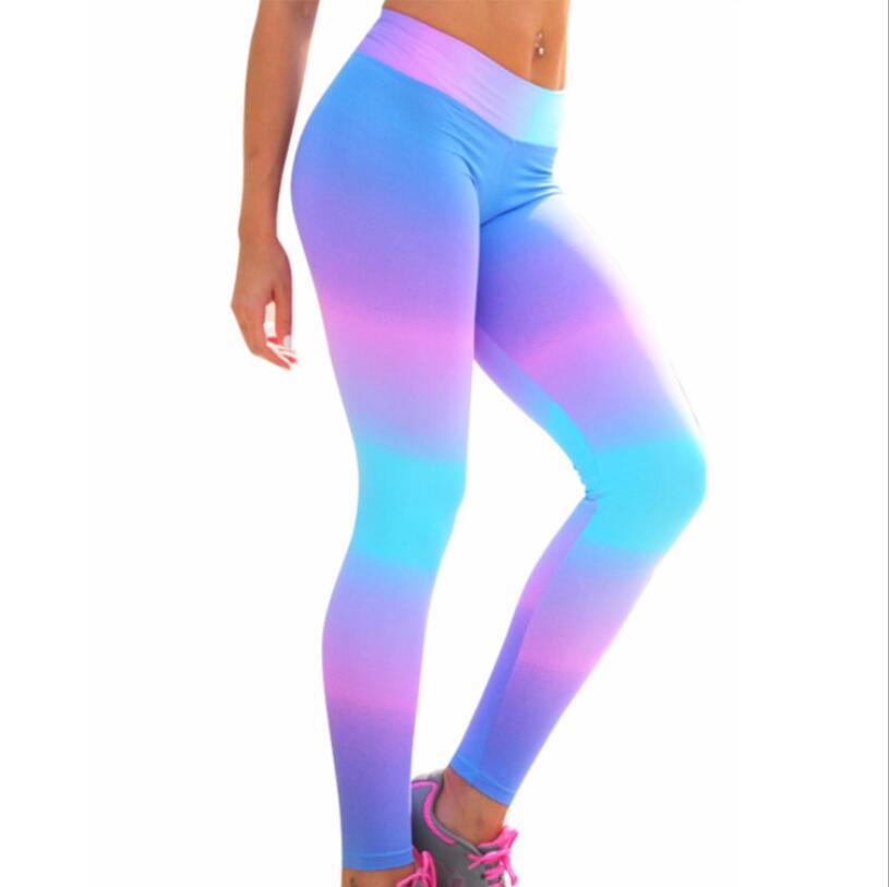 Hot Sales! 2018 New Sexy Leggings Fitness Women Leggings Rainbow Printing Leggins High Waist Pants Female Quick Dry Trousers