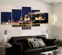 High Quality Canvas Print Austria Salzburg At Night Poster Decor Living Room Wall 5 Piece Modular Combinatorial Style Painting