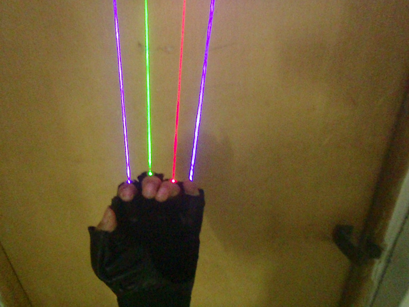 Freies Verschiffen 3 Farbe LED Laser Handschuhe Grün Blau Rot Licht - Partyartikel und Dekoration - Foto 3