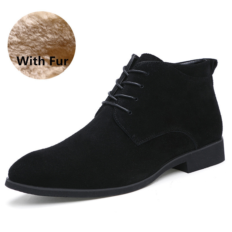 Fur Bottes Cowboy Suédé Erkek Botas Hiver brown Vache gray D'hiver Cheville Bot Chaussures Hommes Fur Hombre Pour En Black Fur Cuir qxSUXz5S