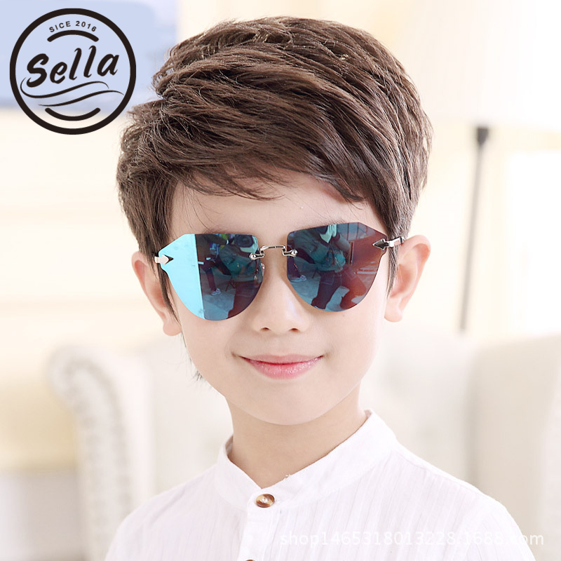 Sella 2018 New Fashion Kids Pilot Rimless Sunglasses Brand Designer Trending Tint Lens Boys Girls Cutie Sun Glasses Eyewear