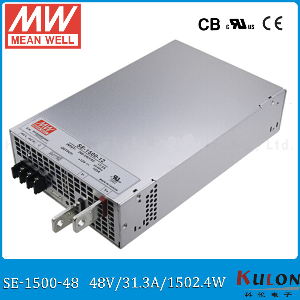 Original MEAN WELL SE 1500 1500W Power Supply AC 220V to DC 48V PSU 5V/300A 12V/125A 15V/100A 24V/62.5A 27V/55.6A 48V/31.3A