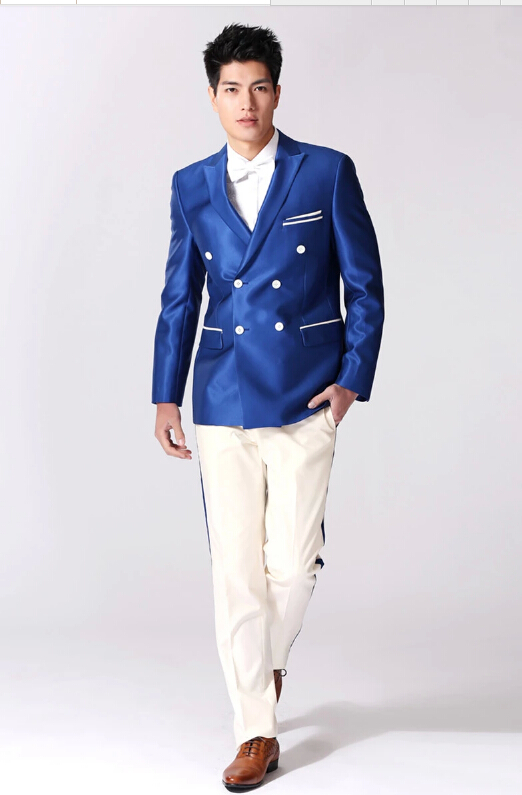 Aliexpress.com : Buy High end custom men's suit blue coat white ...