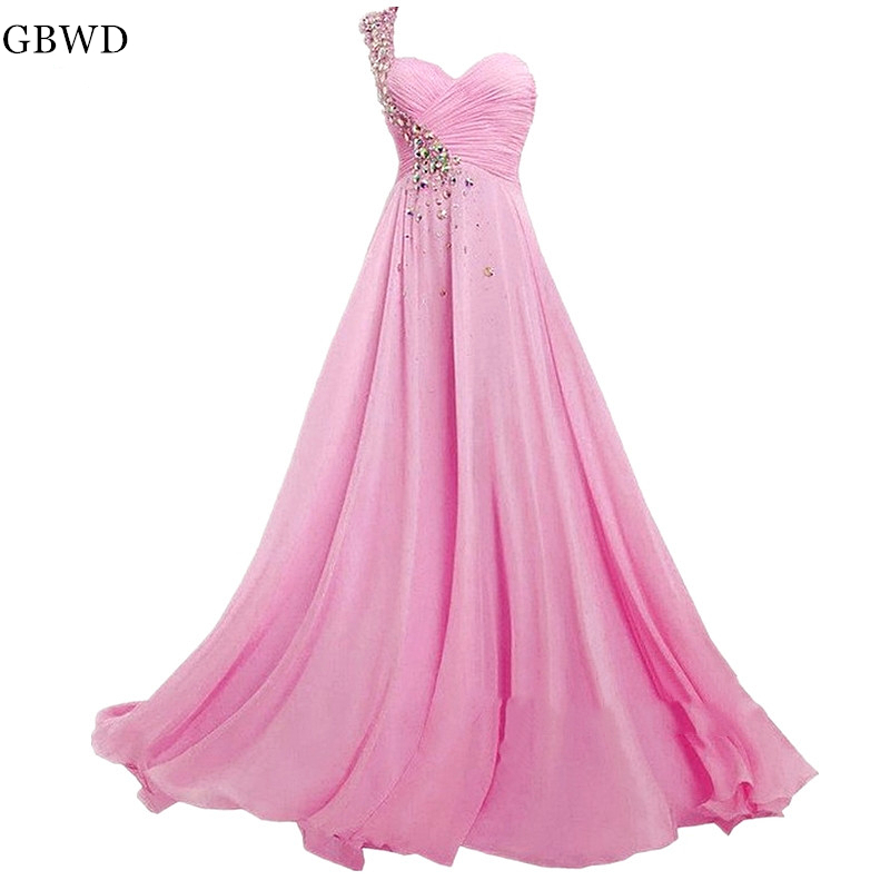 2019 Pink Chiffon Simple Bridesmaid Prom Dress  Sheer One Shoulder Sequins A-line Long Prom Dresses  Bridesmaid Dress