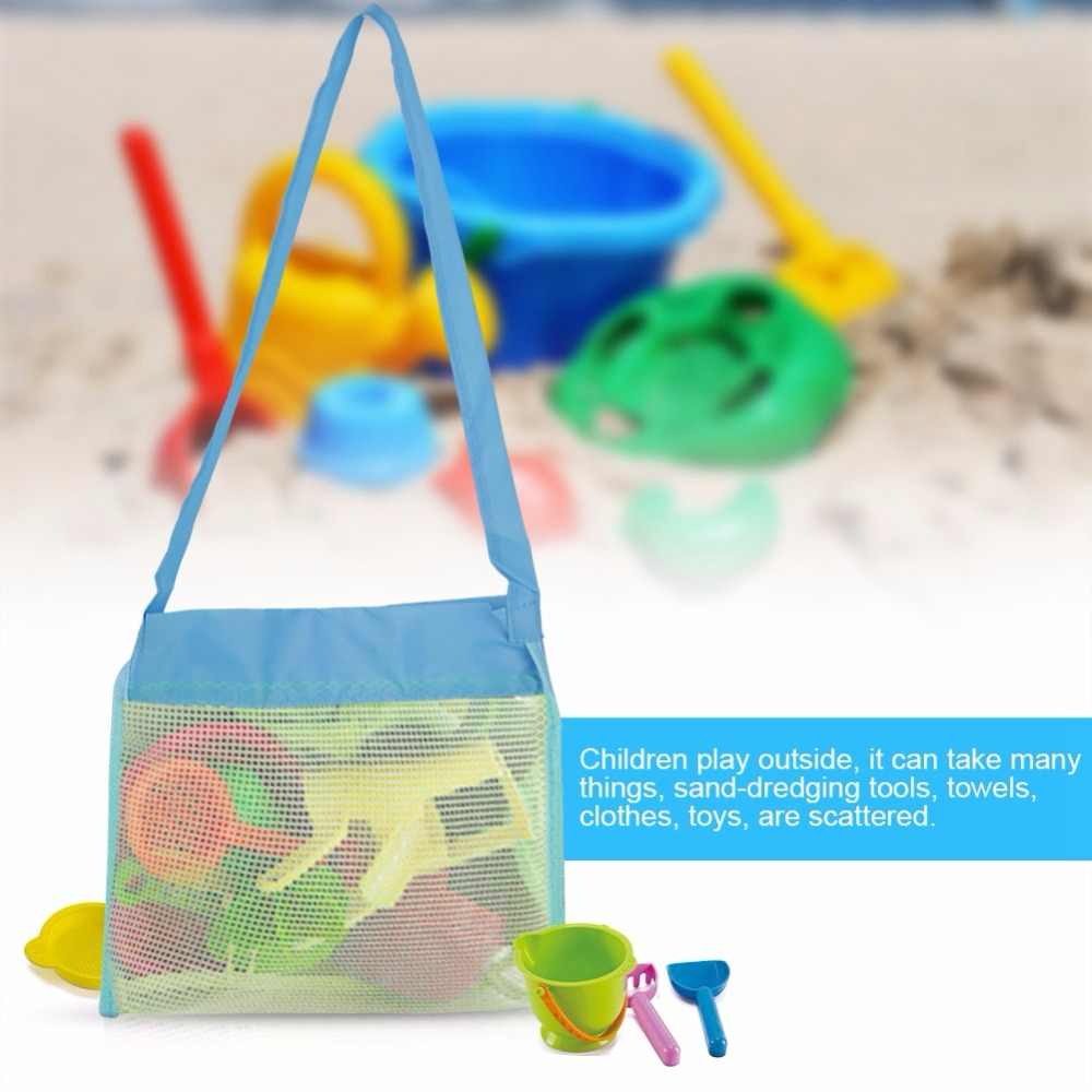 Venda quente Brinquedos Sacos de Malha Saco de Praia Dobrável Bebê Criança Brinquedos de Banho para Crianças Brinquedos de Praia Bolsa de Transporte Net Cestas Para saco Pendurado ao ar livre