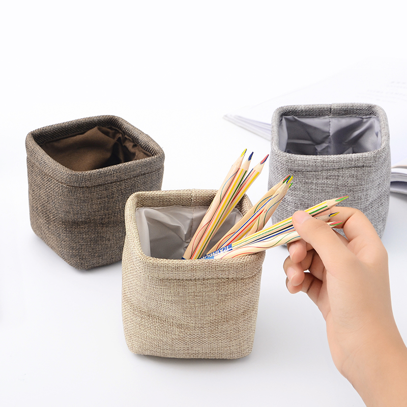 Creative Simple Mini Cloth Pen Holder Stationery Pencil Organizer For Desk Office Accessories Supplies Stationery