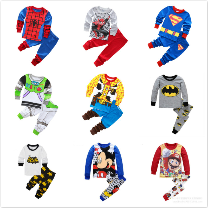 Kids Pajamas Set Children Sleepwear Cartoon Batman Spiderman Superman Pyjamas Pijamas Baby Boy Girl Cotton Nightwear Clothes Set