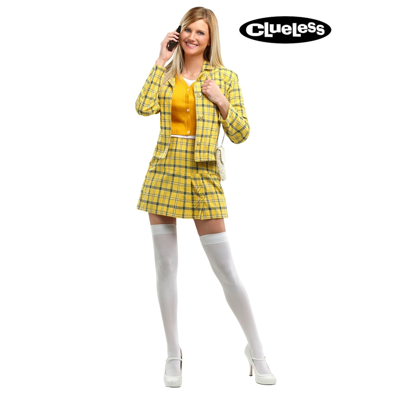Checkered Clueless Cher Women's 90s Movie Alicia Silverstone Wear Valley Girl Cosplay Costumes title=