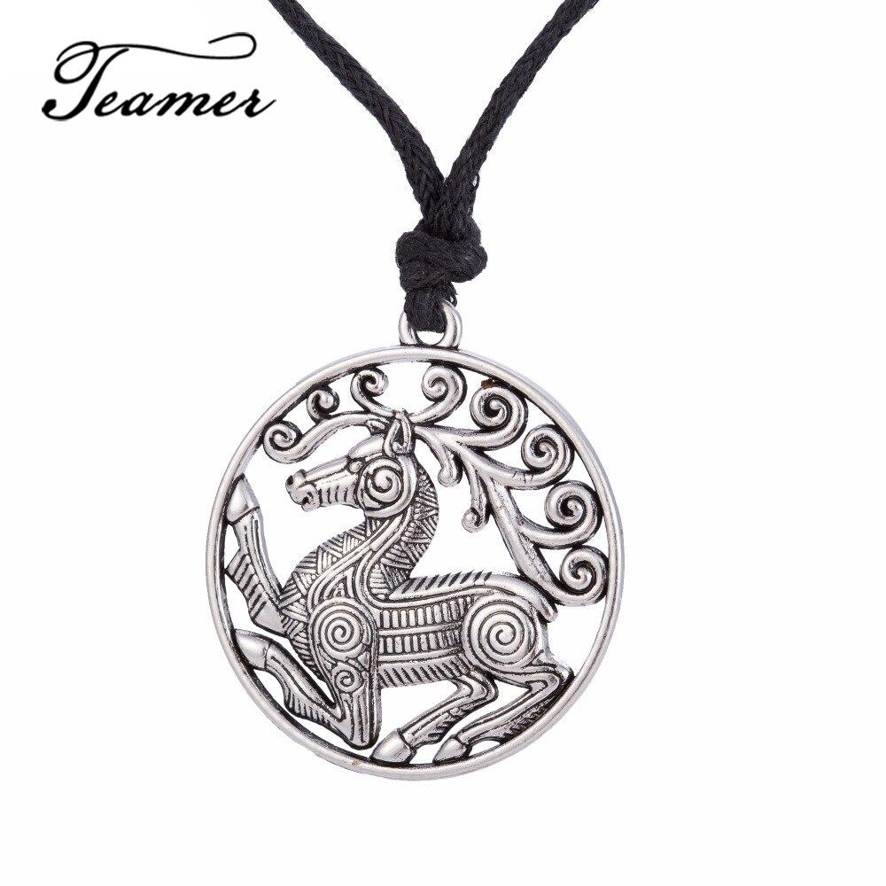 Teamer Norse Viking Přívěsek Náhrdelník Odin's Steed Viking Steampunk Přívěsek Skandinávský náhrdelník koně Trendy Šperky