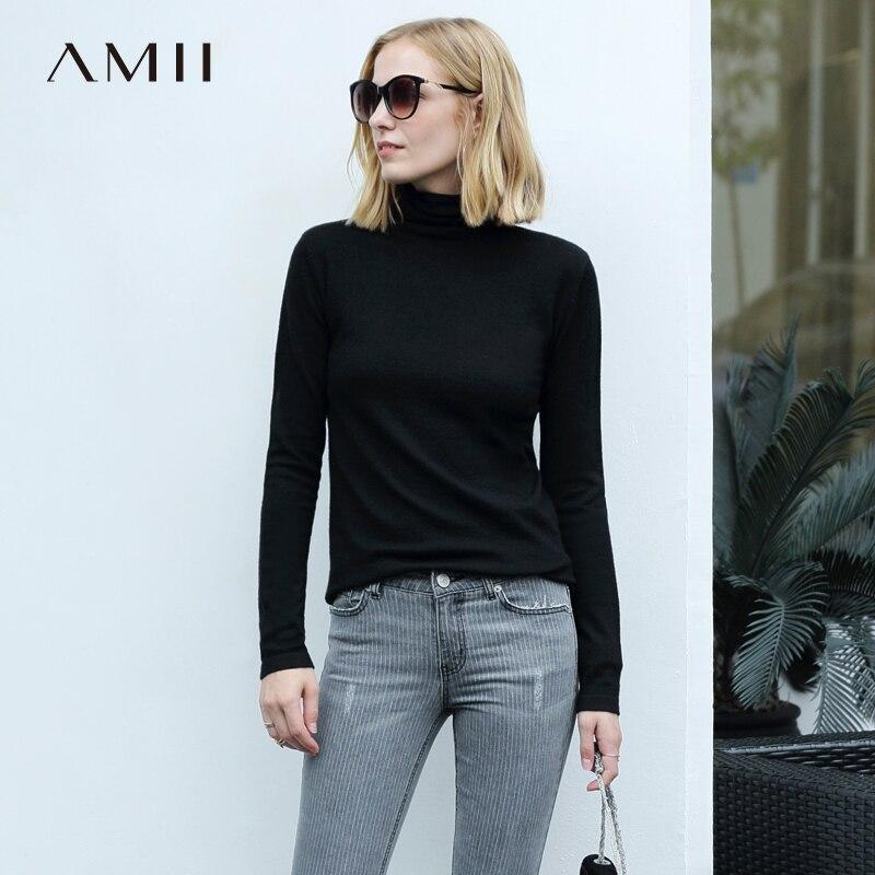 Amii minimalista cuello de las mujeres, suéter de Otoño de 2018 casuales de manga larga más tamaño 5XL femenina de lana suéteres
