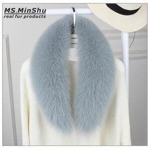 Image 2 - Ms.MinShu bufanda de cuello de piel de zorro genuino para mujer, bufanda de piel de zorro 100%, piel de zorro Natural, calentador de cuello, hecho a medida