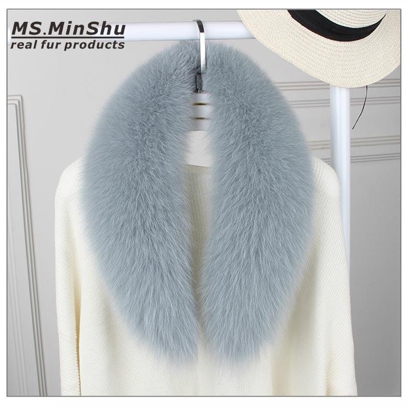 Ms. MinShu véritable fourrure de renard col écharpe pour les femmes hiver fourrure de renard écharpe 100% naturel peau de renard col cou plus chaud sur mesure - 2