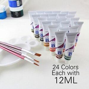 Image 4 - זיכרון צבעי אקריליק סט עבור ציור טקסטיל בד מניקור נייל אמנות עם 3 מברשות & 1 צבעים