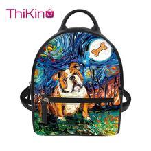 Thikin Van Gogh Galaxy Backpack for Ladies Girls Dog Pattern Travel Mochila PU Mini Zipper Schoolbag Student Preppy Style Bag