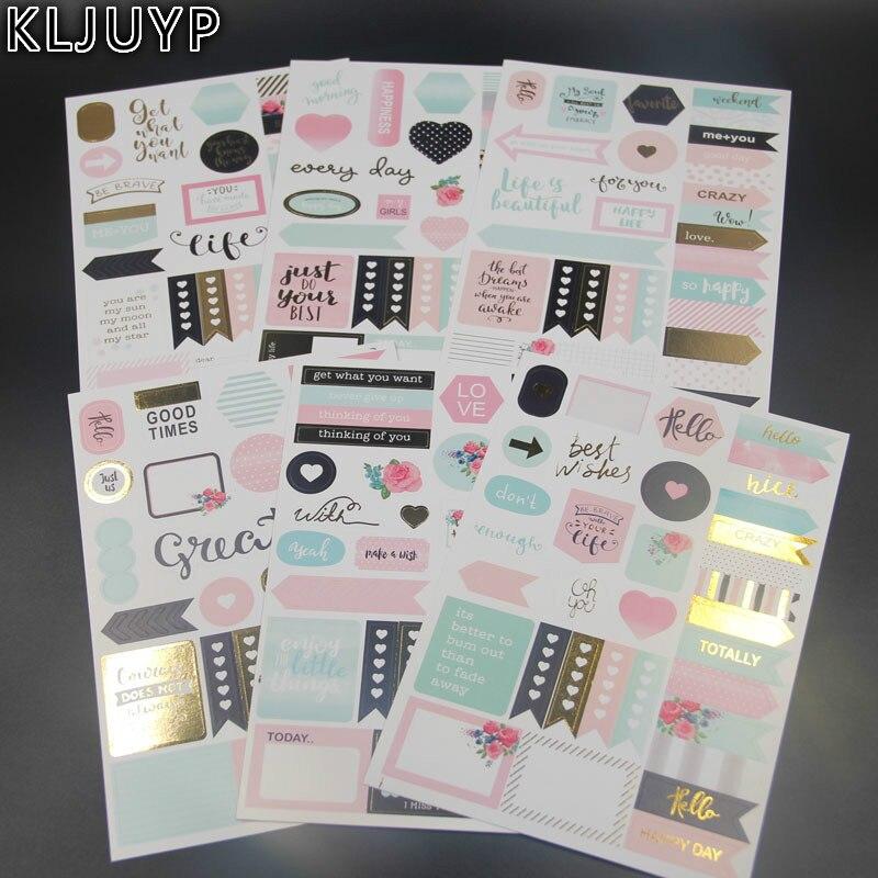 KLJUYP 6 feuilles Meilleurs Voeux Autocollants Ensemble pour Scrapbooking Heureux Planificateur/Fabrication De Cartes/Journalisation Projet