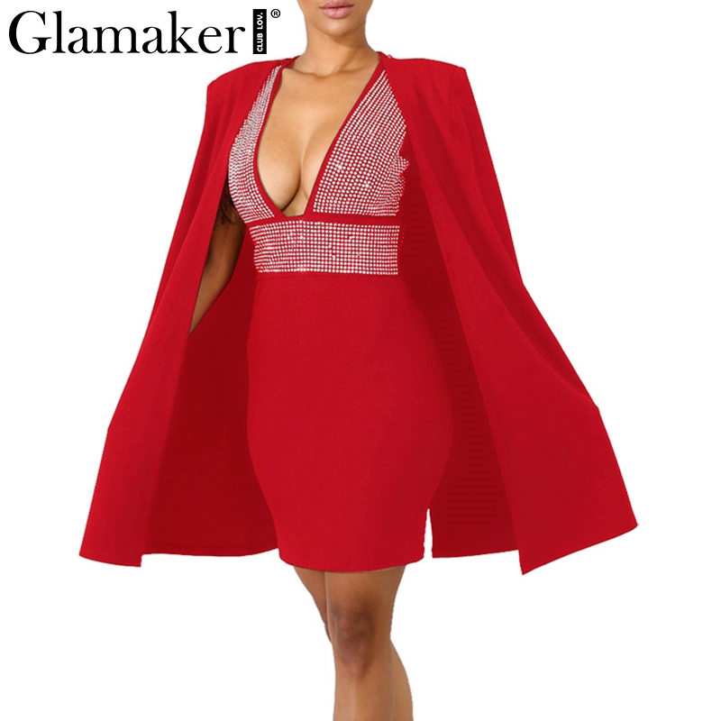 Glamaker Backless Dress Glamaker Sexy deep v neck two-piece suit midi dress Women diamonds high  waist backless dress Autumn party dress vestido de festa