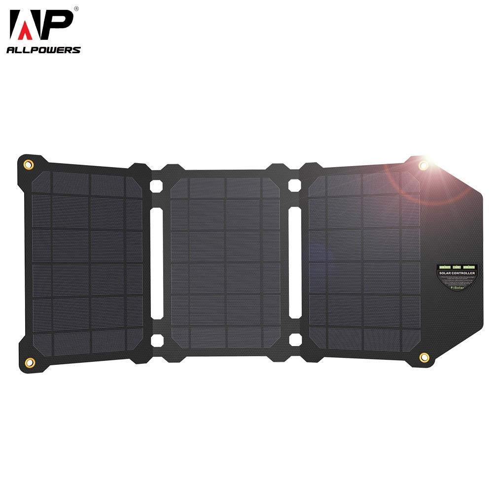 ALLPOWERS 21 W Baterias de Células Solares Painel Solar Dual USB Carregador Solar de Carregamento Do Telefone para Sony iPhone 4 5 6 7 6 s 8 X Mais iPad