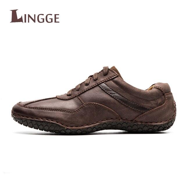 bc29886c81 2018 de Alta Qualidade de Couro Genuíno dos homens Sapatos Casuais Marca de  Luxo Primavera Outono