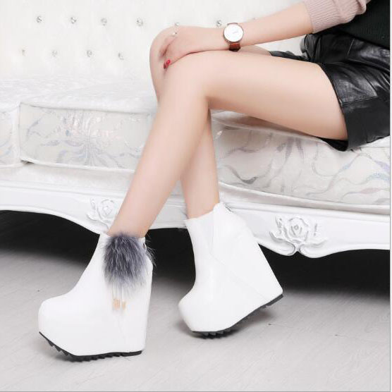 2018 Women Snow white boots woman winter boots women fashion Ankle boots Warm fur womens ...