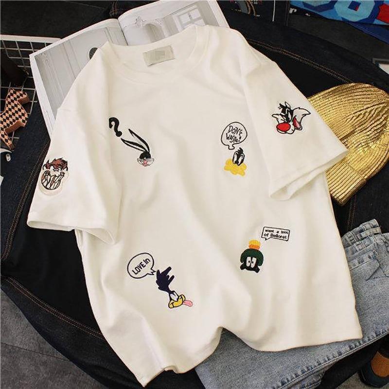 Plus Size damskie letnie koszulki 2019 nowy O-Neck z krótkim rękawem Cute Cartoon T-Shirt dla dziewcząt studenci Lady w stylu bf topy Tees 2